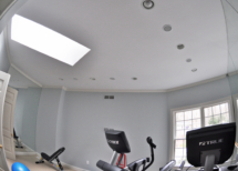 Gym Sonance in-ceiling speakers matching the lights