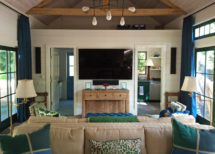 Pool house 5.1 surround Samsung TV and rack in loft